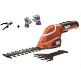 Nůžky na trávu a živý plot Black&Decker GSL700 KIT, Aku + rukavice a nůžky
