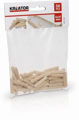 KRT110101 - Truhlářské kolíčky 6 x 30 mm (50 ks)